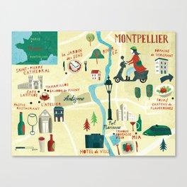 Montpellier Map Canvas Print
