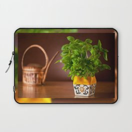 Ocimum basil plant in decorative flowerpot Laptop Sleeve