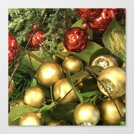 Contemporary Christmas Ornaments in Holiday Red and Gold Canvas Print