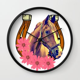 Horse head with horse shoe Wall Clock