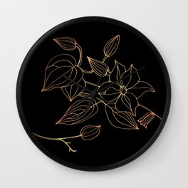 Floral in Rose Gold Gradient (on black) Wall Clock