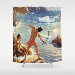 "N C Wyeth Painting ""The First Maine Fishermen"" Shower Curtain"