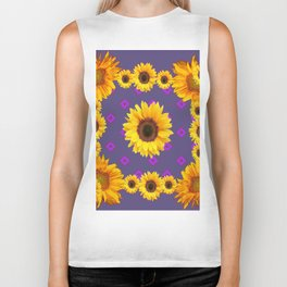 Ornamental  Puce Purple Golden Sunflowers Pattern Biker Tank