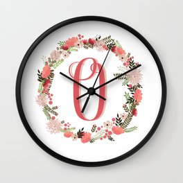 Personal monogram letter 'O' flower wreath Wall Clock
