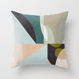 shapes geometric art mid century Throw Pillow