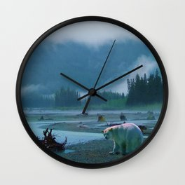 Great Spirit Bear and Misty River Wall Clock