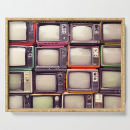Wall of pile colorful retro television (TV) Serving Tray