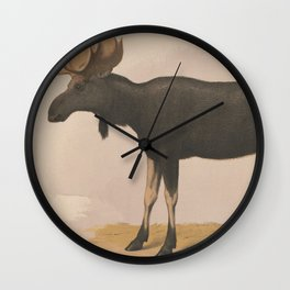 Vintage Illustration of a Moose (1874) Wall Clock