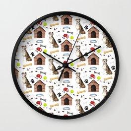 Catahoula Leopard Dog Half Drop Repeat Pattern Wall Clock