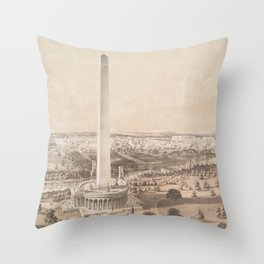 Vintage Pictorial Map of Washington DC (1852) Throw Pillow