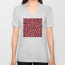 Pink Faux Leopard Print Artsy, Glam Pattern Unisex V-Neck