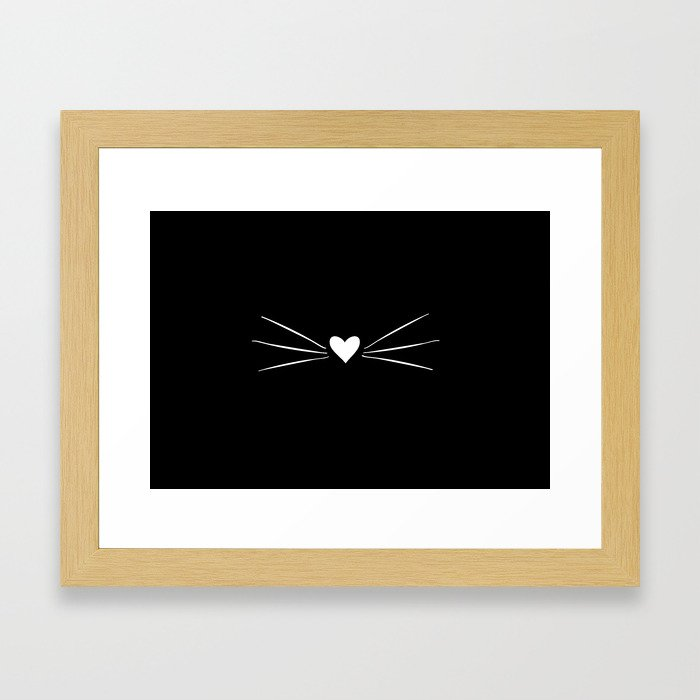Cat Heart Nose & Whiskers White on Black Framed Art Print