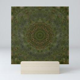 """Autumn mandala"" (Green-Grey Pattern) Mini Art Print"