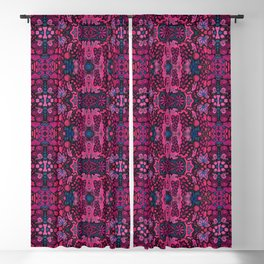 Indian Summer, Bohemian Ethnic Pattern, Pink Black Blackout Curtain