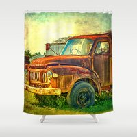 truck Shower Curtains featuring Old Rusty Bedford Truck by Wendy Townrow