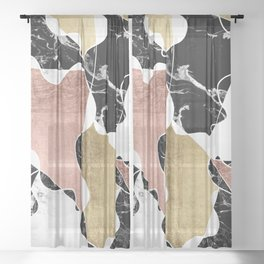 Modern white black marble rose gold foil color block handdrawn geometric lines Sheer Curtain