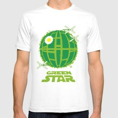 Green Star White Mens Fitted Tee MEDIUM