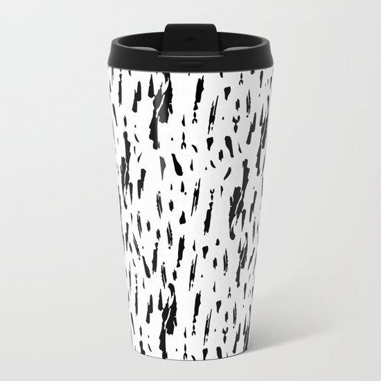Seattle Rain Black Ink on White Metal Travel Mug