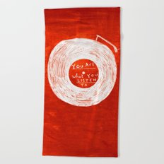 you are what you listen to, RED Beach Towel