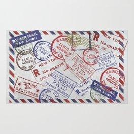 Vintage Postage Stamps grunge Design Rug