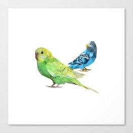 Geometric green and blue parakeets Canvas Print