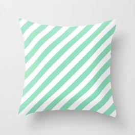Diagonal Stripes (Mint & White Pattern) Throw Pillow