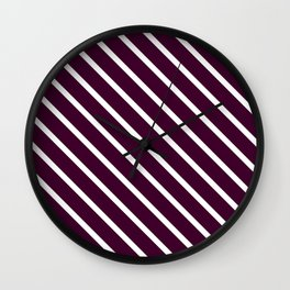 Eggplant Diagonal Stripes Wall Clock