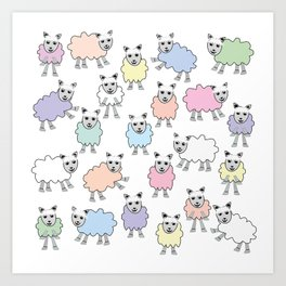 Colorful Counting Sheep Bedtime Pattern Art Print