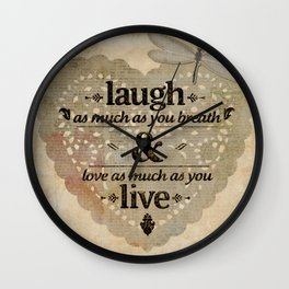 Happy life motivational quote Wall Clock