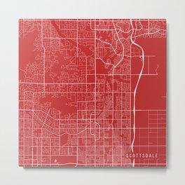 Scottsdale Map, USA - Red Metal Print