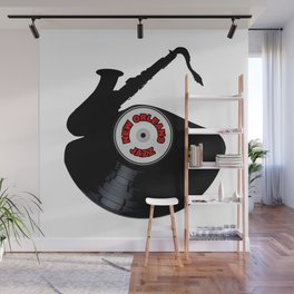 New Orleans Jazz Music Silhouette Record Wall Mural