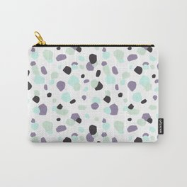 Modern violet mint green aqua watercolor brushstrokes dots Carry-All Pouch