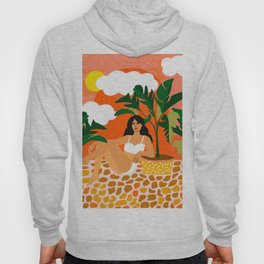 Life With Banana Trees, Tropical Bohermian Woman Nude Illustration, Fashion Colorful Eclectic Bold Hoody