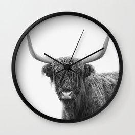Scottish highlander cow black and white Wall Clock