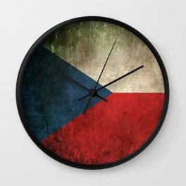 Old and Worn Distressed Vintage Flag of Czech Republic Wall Clock