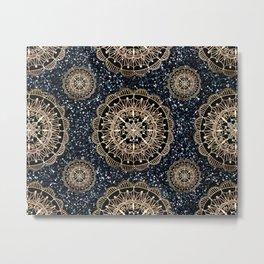 Black and White Sparkles & Rose Gold Mandala Textile Metal Print