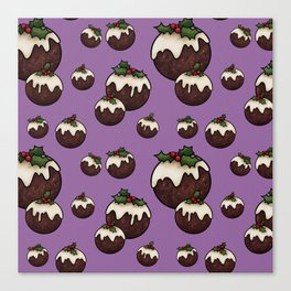 Christmas Pudding Feast with Holly and Berries, Purple Canvas Print