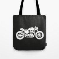 cafe racer Tote Bags featuring Triumph Bonneville - Cafe Racer series #3 by Daniel Feldt