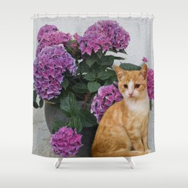 Cat and a Vase of Hydrangea Shower Curtain