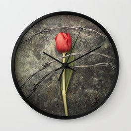 Tulip and barbed wire Wall Clock