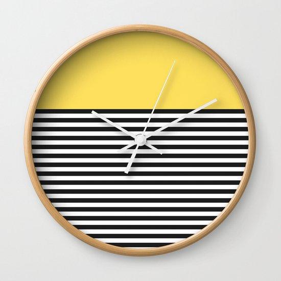 STRIPE COLORBLOCK {LEMON} Wall Clock