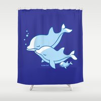 dolphins Shower Curtains featuring Dolphins by joanfriends