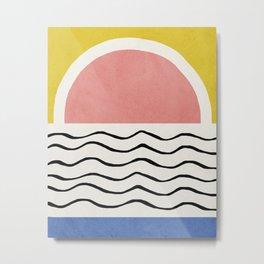 Sunset, Mid century modern wall art Metal Print