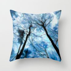 Trees Reaching For The Sky - Painting Style Throw Pillow