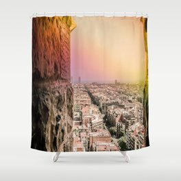 Colorful Rainbow View from Sagrada Familia over the Old City of Barcelona Shower Curtain