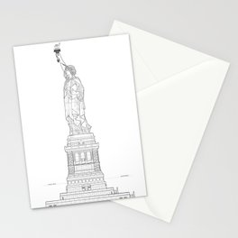 Statue of Liberty Blueprint Stationery Cards