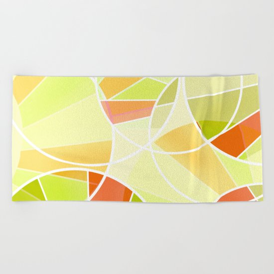 Yellow-red green summer pattern . Beach Towel