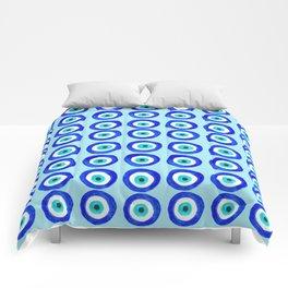 Evil Eye Amulet Talisman - on turquoise Comforters