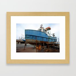 Boat in Jaffa Port, Tel Aviv Framed Art Print