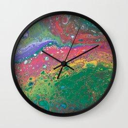 Rainbow Acrylic Pour Wall Clock